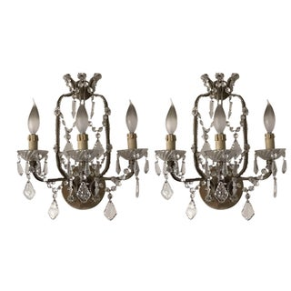 Paris Flea Market Crystal Sconces - A Pair