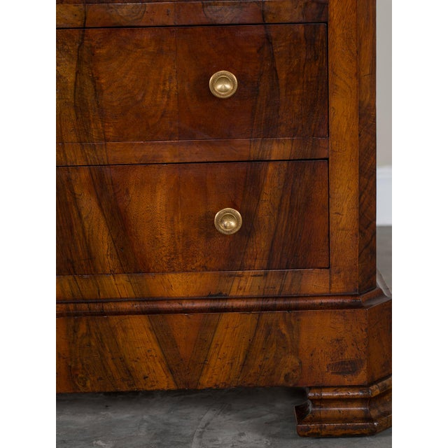 Antique French Louis Philippe Burl Walnut Chest with Marble Top circa 1850 - Image 8 of 11