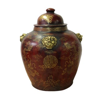 Chinese Distressed Brown Lacquer Golden Foo Dogs Dragons Fat Jar