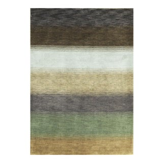 "Contemporary Hand Woven Striped Wool Rug - 5'8"" X 8'11"""