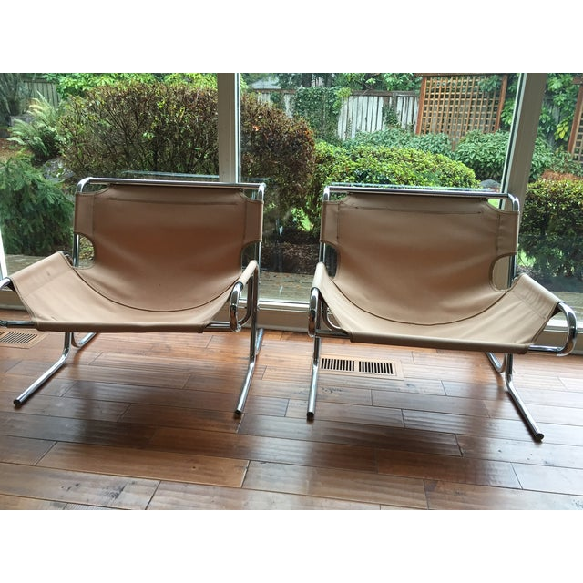Image of Mid-Century Chrome Canvas Sling Chairs - Pair