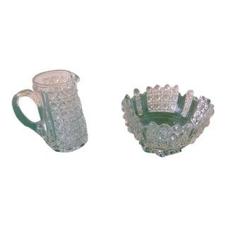 Traditional Cut Glass Sugar & Creamer