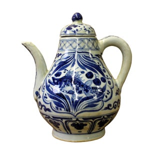 Chinese Blue White Porcelain Scenery Accent Teapot Shape Display