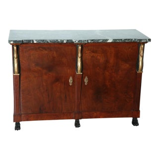 Pair of Baltic Empire Mahogany, Parcel-Gilt Two-Door Credenza