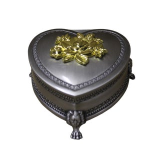 Pewter Heart Shaped Rose Jewelry Box