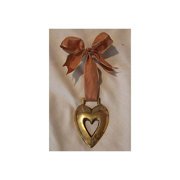Antique English Horse Brass Heart Ornament - Image 2 of 3