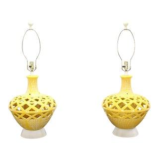 Mid-Century Modern Pierced Yellow Glaze Pottery Lamps - A Pair