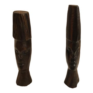 Vintage Wooden Tiki Heads - A Pair