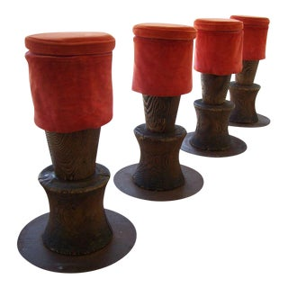 Andrée Putman Set of Four Wood TOTEM Barstools, 1984