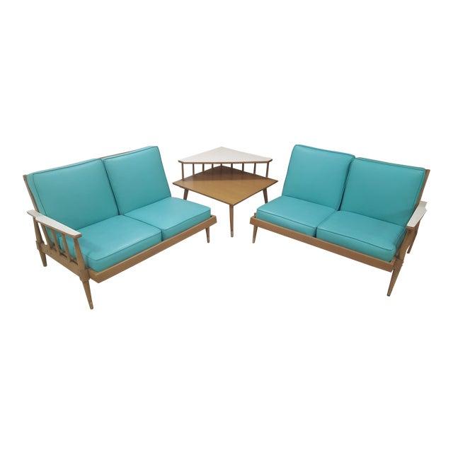 Mid-Century Turquoise Sofa & Table Set - Image 1 of 10