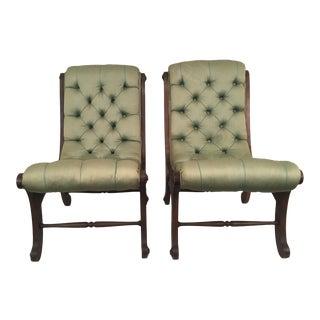 Tufted Victorian Slipper Chairs - a Pair