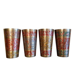 Hand Engraved Brass Lassi Cups - Set of 4