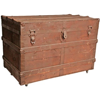 Vintage Brown Wood Steamer Trunk