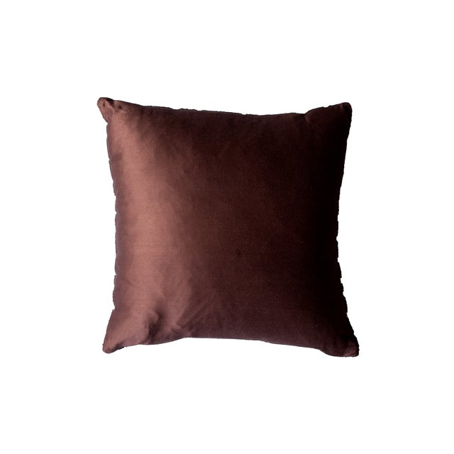 Brown & Ivory Embroidered Accent Pillow - Image 2 of 2