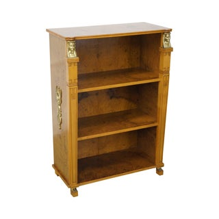 Egyptian Revival Burl Wood Open Bookcase