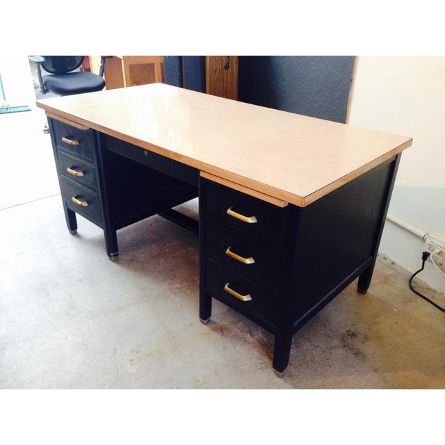 Vintage Professor's Desk, Refinished in Black - Image 3 of 10