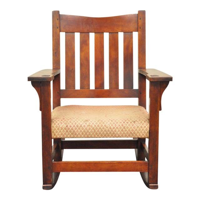 Antique Solid Maple Mission Arts & Crafts Rocker Rocking Chair Stickley Era - Image 1 of 10