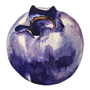 Watercolor Blueberry Painting