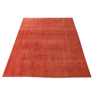 Vintage Orange Rust Turkish Overdyed Wool Rug - 9′7″ × 12′2″