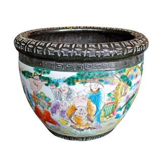 Chinese Ceramic 18 Lohons Graphic Pot Planter