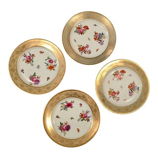 Tirschenreuth Bavaria Floral & Gold Dinner Plates- Set of 4