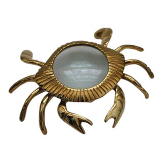 Brass Crab Magnifying Glass Paperweight