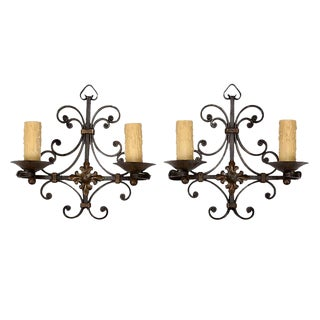 French Wrought Iron Scrolled 2-Light Wall Sconces - A Pair