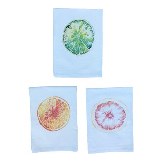 Hand-Designed Tea Napkins Grapefruit, Orange, & Lime - Set of 3