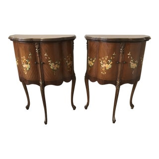 Louis XV Inlaid Side Cabinet Tables - a Pair