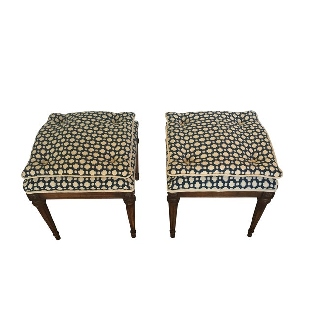 Wood Stools with French Tufted Upholstery - Pair - Image 1 of 4