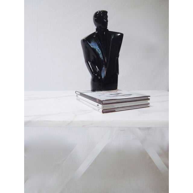 Lucite Base Coffee Table with Marble Top - Image 11 of 11