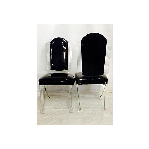 1970s Lucite & Chrome High Back Chairs - S/4 - Image 5 of 6