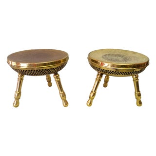 Brass Moroccan Footstools - A Pair