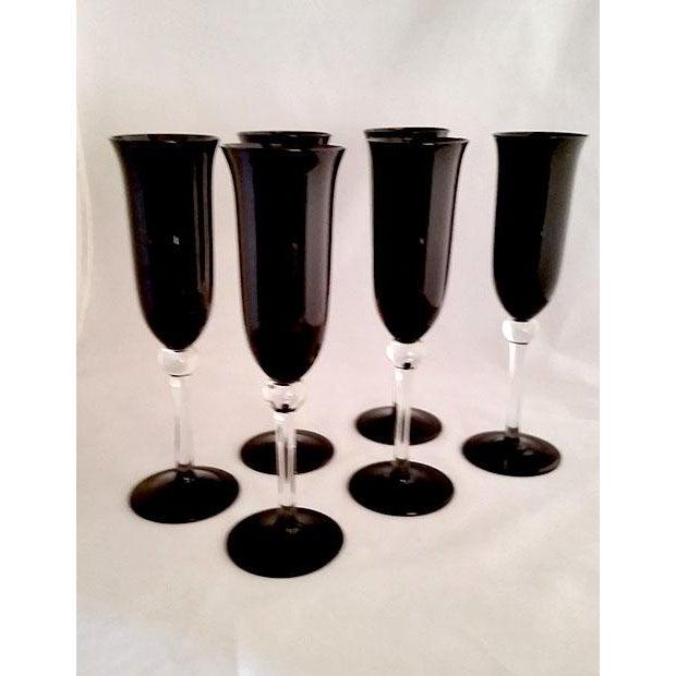 Black Crystal Champagne Flutes - Set of 6 - Image 4 of 6