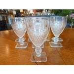 Image of Pressed Glass Footed Goblets - Set of 8