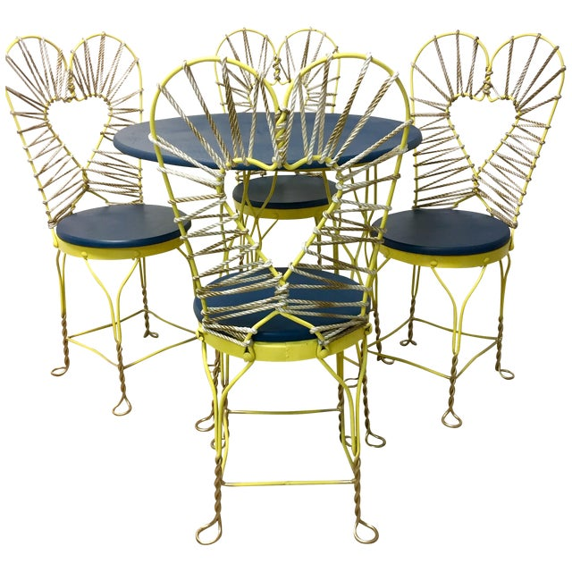Yellow roped kitchen dining set chairish for Kitchen set yellow