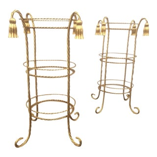 Hollywood Regency Style Gilt Metal Stands - A Pair