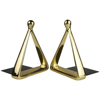 Pristine Pair of Brass Stirrup Bookends by Ben Seibel for Jenfred Ware, 1950s