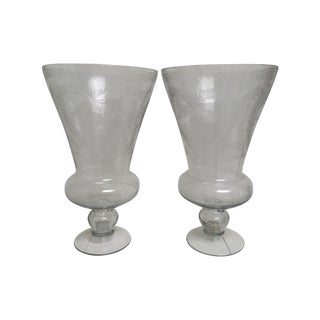 Glass Heart-Motif Hurricane Vases - A Pair