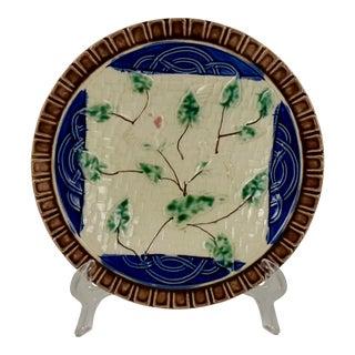 19th Century German Majolica Morning Glory Vine Plate
