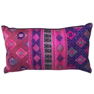 Vibrant Colored Hmong Tribal Pillow