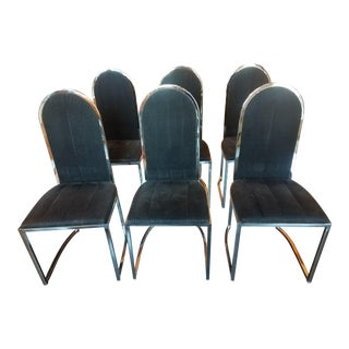1970s Vintage Chrome Dining Chairs - Set of 6
