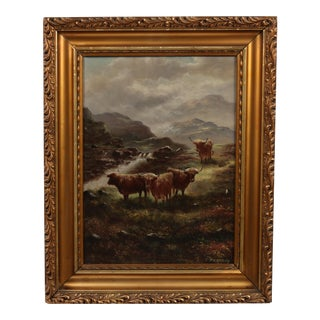 Early 20-C. Painting 'Buffalo in the Scottish Highlands'