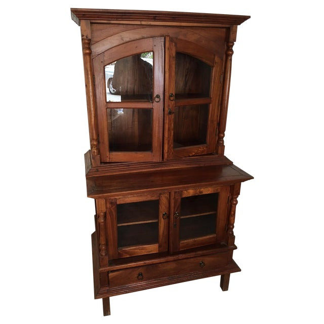 Teak Credenza and Hutch with Glass Doors - Image 1 of 3