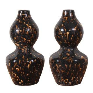 Vintage Sarreid LTD Calabash Black & Gold Vases - A Pair