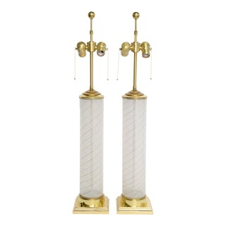 Pair of Empire Inspired Dino Martens Murano Columnar Mid Century Modern Table Lamps .