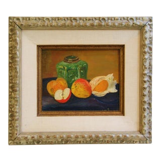 1960s Fruit Tablescape Still Life Oil Painting