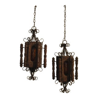Vintage Gothic Wood & Rusted Wrought Iron Amber Crackle Glass Swag Lights - A Pair