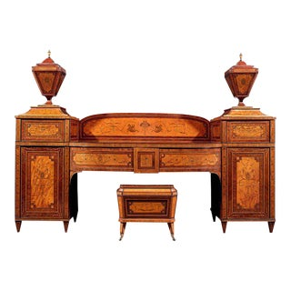 Satinwood and Mahogany Pedestal Sideboard Suite