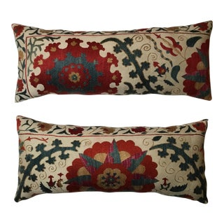 Cream Floral Suzani Pillows - A Pair